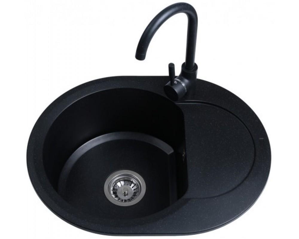 Гранитная мойка Bretta Round Black 600 x 470