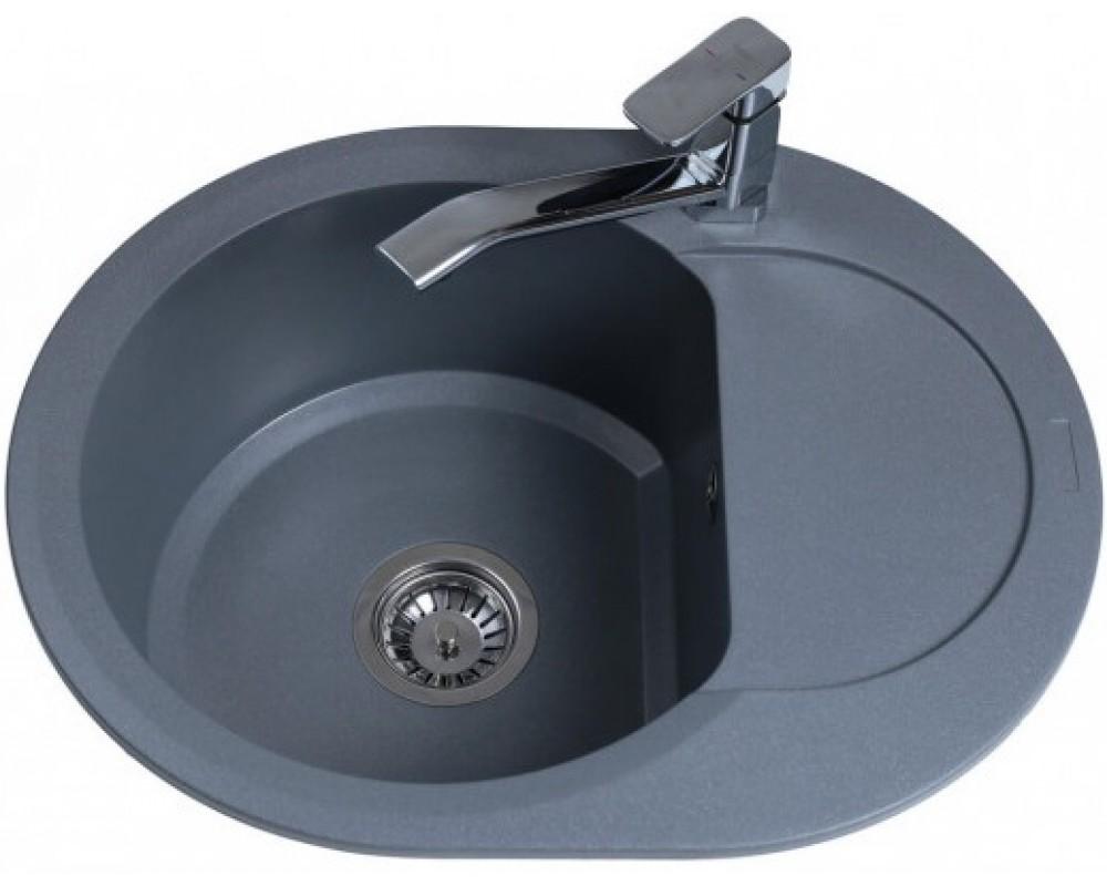 Гранитная мойка Bretta Round Metallic Gray 600 x 470