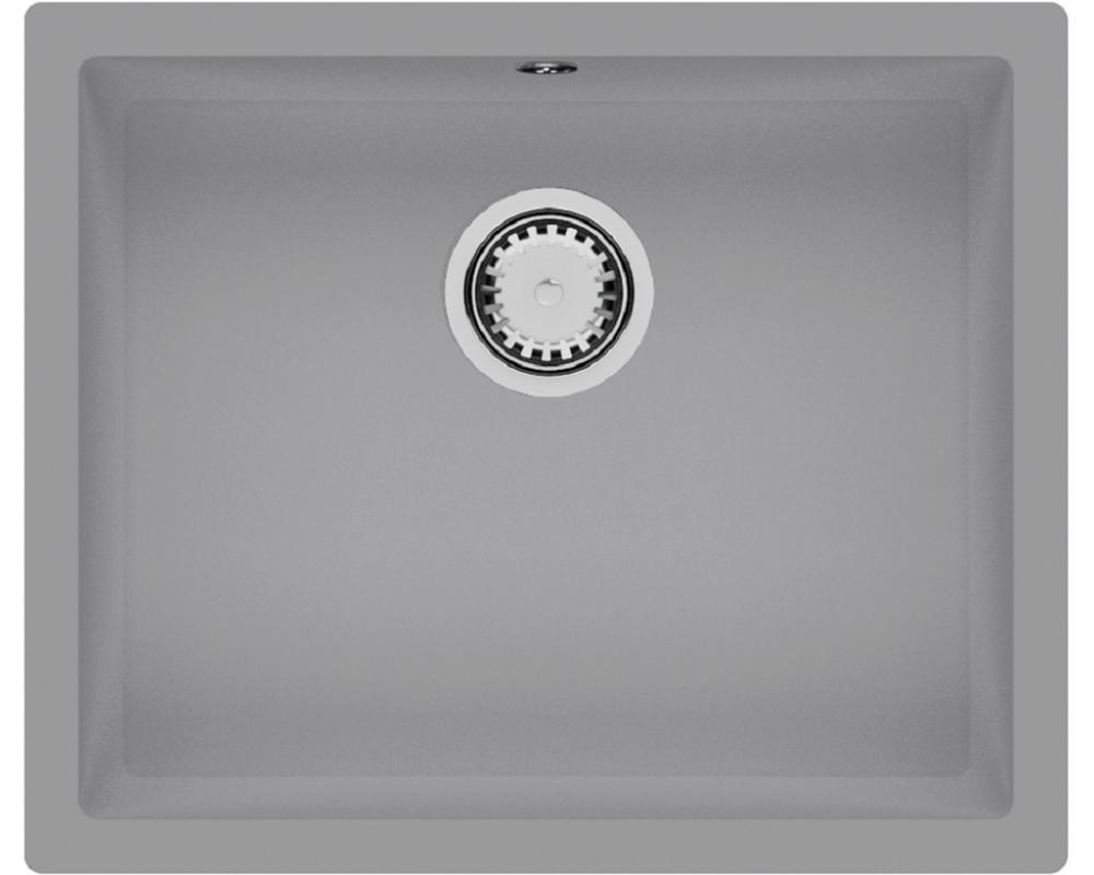 Гранитная кухонная мойка Fabiano Quadro 55x46 Grey Metallic