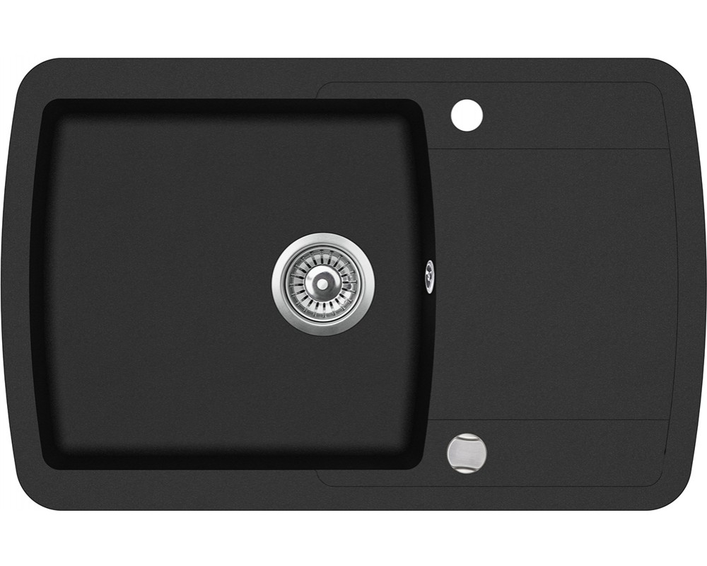 Гранитная мойка в черном цвете AQUASanita Lira SQL101 Черный металлик - 601